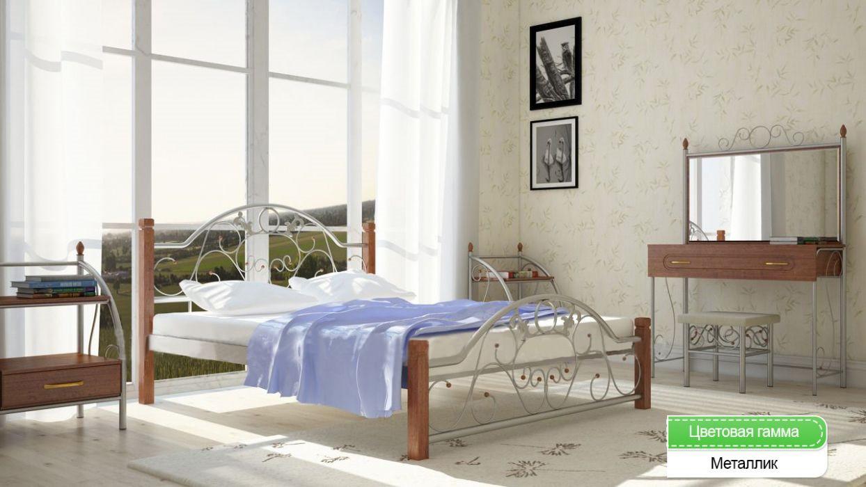 Металлическая кровать (дерево ножки) Франческа Металл-дизайн