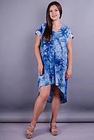 Стефания. Повседневное платье плюс сайз. Джинс., фото 1