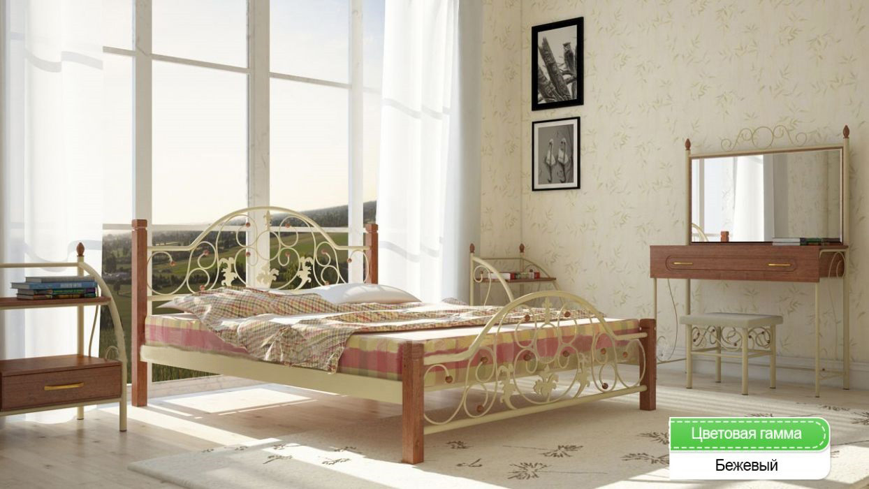 Металлическая кровать (дерево ножки) Жозефина Металл-дизайн