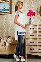 Белая летняя блузка, туника, из батиста с вышивкой, размеры 44-50