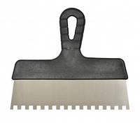 Шпатель стальной Favorit c пластиковой ручкой 250 мм (зуб 6 х 6 мм)