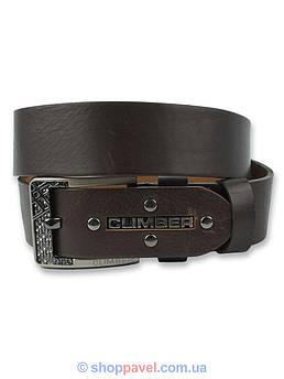 Кожаный мужской ремень Climber 0957 в коричневом цвете