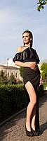 Юбка в пол,с разрезом выше колен,топ чёрный с воланом из кожзаменителя с перфорацией.