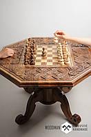 Шахматный стол, шахматный стол ручной работы, резьбленный шахматный стол