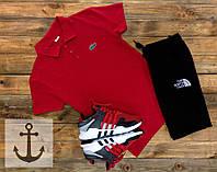 Спортивный летний костюм Шорты + Поло (футболка) +СКИДКА ! Lacoste черный+красный