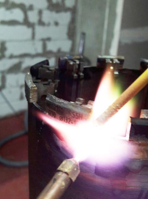 Реставрация алмазной коронки - напайка алмазного сегмента