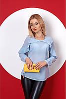 Однотонная светлая блуза с длинным рукавом размер:42,44,46,48,50