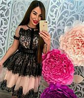 Платье с черным кружевом с полу прозрачной бежевой сеткой