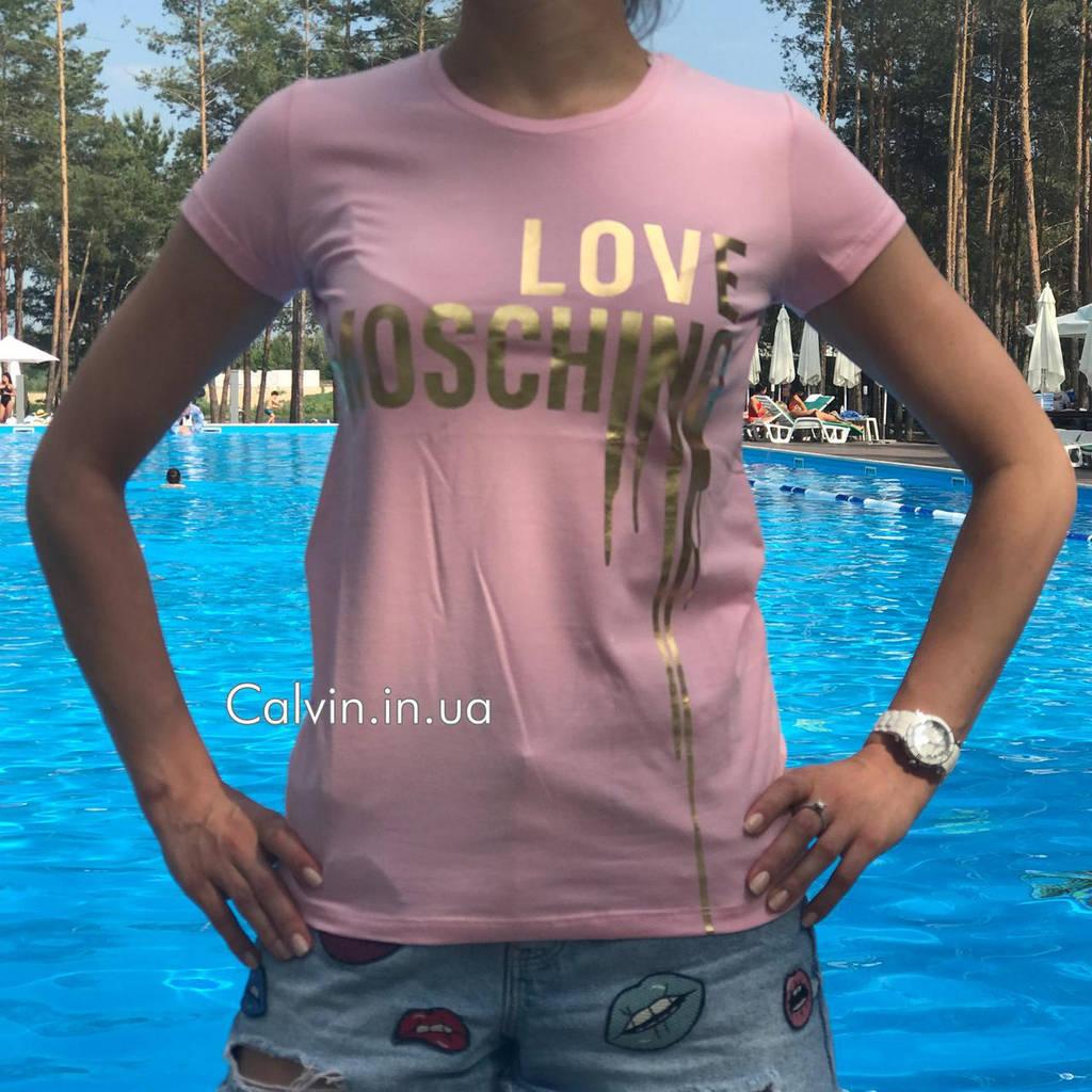 Женская футболка MOSCHINO розовая