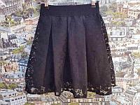 Юбка с кружевом р. 116-134 чёрная