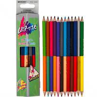 Карандаши двухсторонние треугольные 12 шт.24 цвета, Grip-Rite,Marco