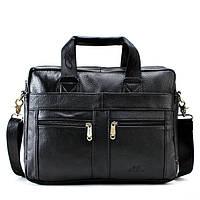 Мужская кожаная сумка Ox Bag Classic (чёрная, натуральная кожа)