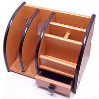 Органайзер настольный деревянный BJ-8818 Penholder (20,5х13,5х15см) СВЕТЛО-КОРИЧНЕВЫЙ
