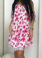 Платье с сеткой с цветочным принтом женское , фото 1