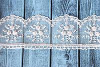 Кружево Розочки на фатине, около 10 ярд/уп, нежно-персикового цвета оптом, фото 1