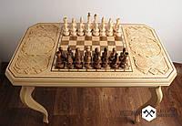 Шахматный стол, резьбленный шахматный стол, шахматный стол ручной работы