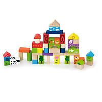 """Набор кубиков Viga Toys """"Ферма"""" 50 шт , набор деревянных кубиков, набор строительных блоков"""