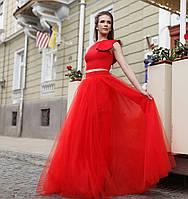 Красная юбка-солнце из сетки и подъюбником из тафты