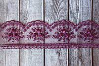 "Кружево Розочки на фатине, около 10 ярд/уп, цвета ""баклажан"" оптом, фото 1"