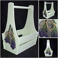 Окрашенный деревянный ящик ручной работы, стиль Прованс, декупаж,25х17х36 см, 300/270 (цена за 1 шт. + 30 гр.)