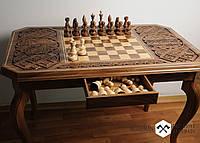 Резьбленный шахматный стол, шахматный стол, шахматный стол ручной работы