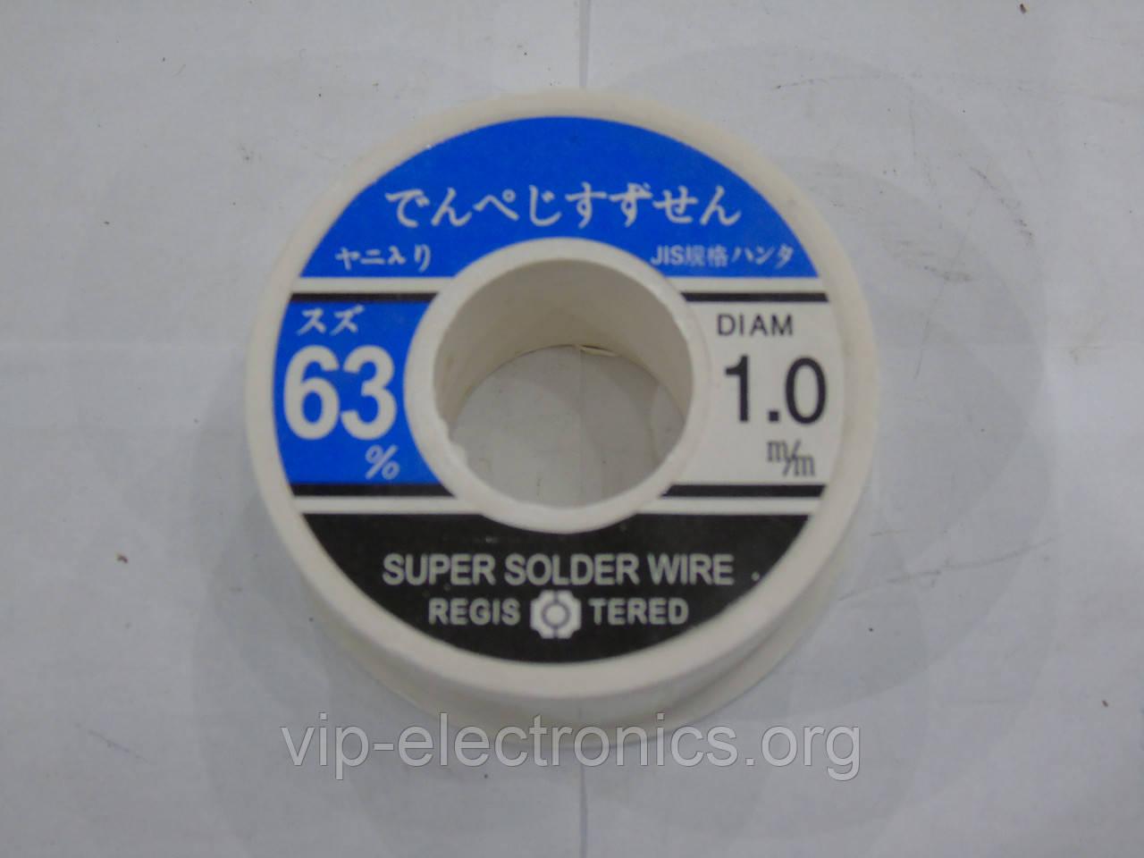 Припой 100гр. 1 мм S-Sn63 SUPER SOLDER WIRE