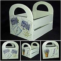 Окрашенный деревянный ящик ручной работы, стиль Прованс, декупаж,20х15х16 см, 260/230 (цена за 1 шт. + 30 гр.)