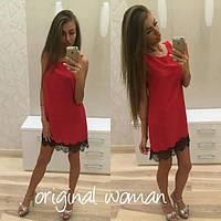 Летнее платье с черным кружевом красное