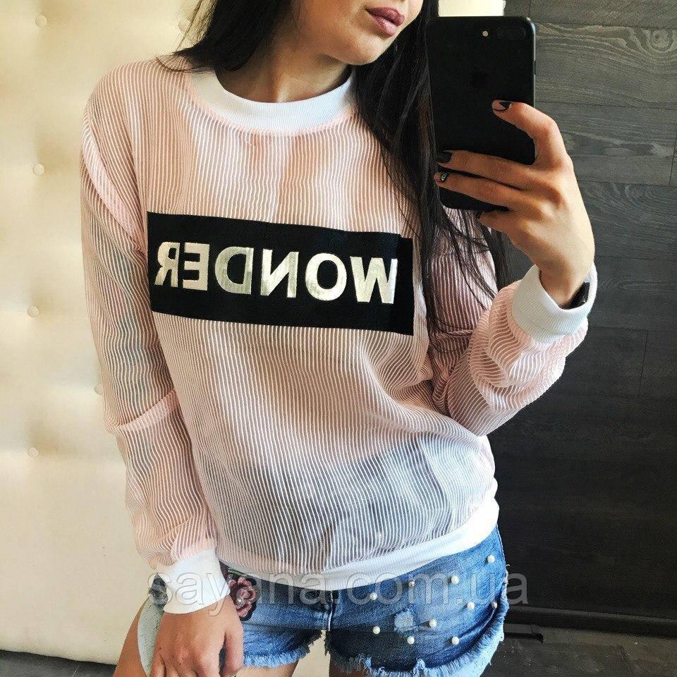 Женский летний свитшот с нашивкой, 2 цвета.  ФК-1-0517
