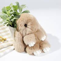 Кролик брелок из натурального меха 18 см., меховой зайка брелок
