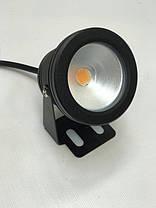 Светодиодный круглый фитопрожектор SL-10-12F 10W 12V IP67 черный (full spectrum led) Код.58927, фото 2