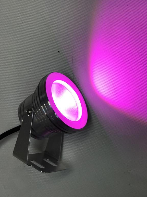 Светодиодный круглый фитопрожектор SL-10-12F 10W 12V IP67 хром (full spectrum led) Код.58928