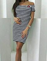 Платье в полоску c губами женское (вискоза) , фото 1
