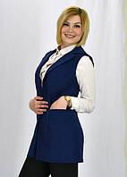 Стильная летняя синяя женская жилетка