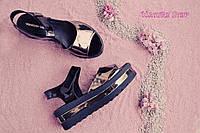 Женские лаковые босоножки черные с серебром на платформе натуральная кожа 38