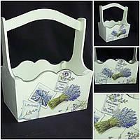 Окрашенный декупажный ящик в стиле Прованс, ручная работа, 22х16х28 см, 280/250 (цена за 1 шт. + 30 гр.)
