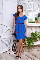 Креп-шифоновое платье Тиффани электрик Arizzo 44-50  размеры