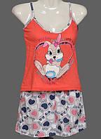 """Летняя пижама женская """"Зайка"""" комплект домашний майка и шорты хлопок Турция"""