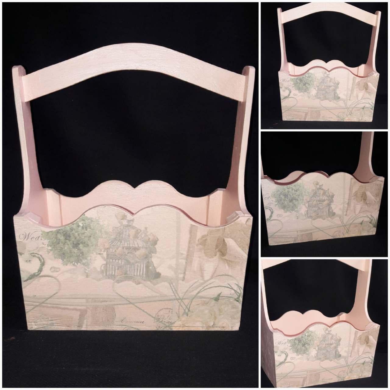Ящик деревянный ручной работы, стиль - Прованс, техника декупаж, 22х16х28 см, 280/250 (цена за 1 шт. + 30 гр.)