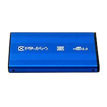 """Внешний карман для HDD SATA 2.5"""" USB 2.0 (алюминиевый) Kolega-Power (Синий) оптом от 30шт"""