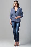 Пиджак женский больших размеров Валери синий клетка (50-60)