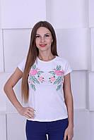 Женская котоновая футболка с цветами