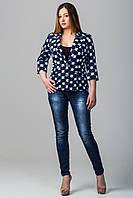 Пиджак женский больших размеров Валери синий цветы (50-60)