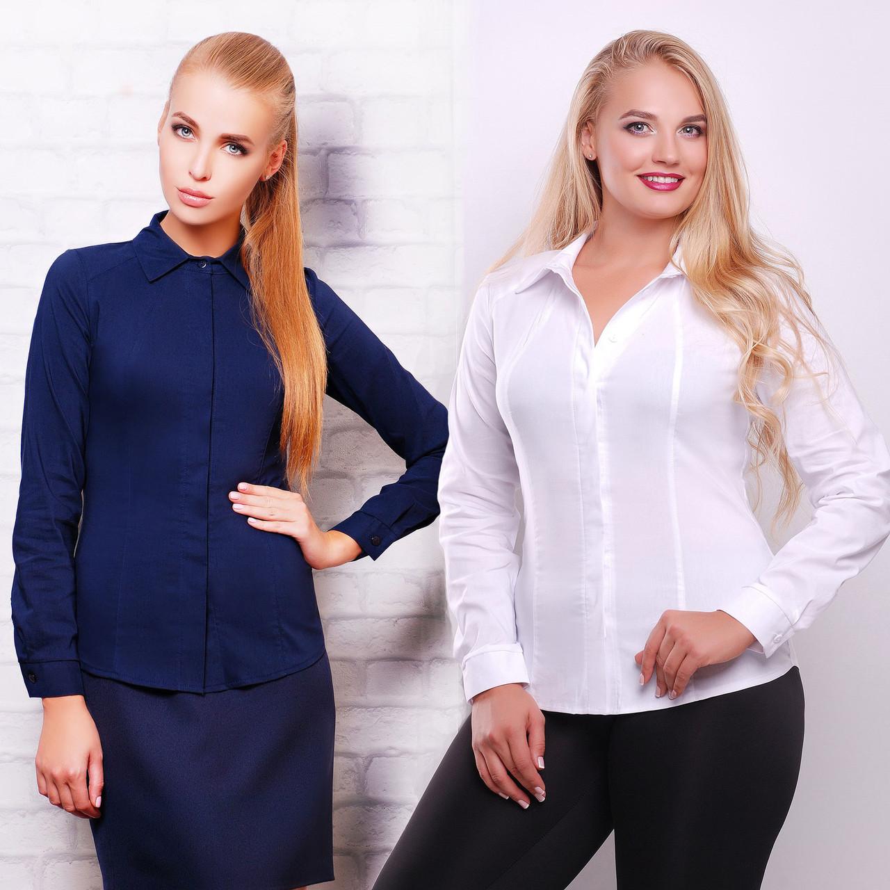 50944e59897 Женская офисная белая приталенная рубашка со скрытыми пуговицами ...
