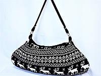 Сумка женская текстильная вязаная сумка Contempo черно-белая олени
