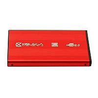 """Внешний карман для HDD SATA 2.5"""" USB 2.0 (алюминиевый) Kolega-Power (Красный) оптом от 30шт"""