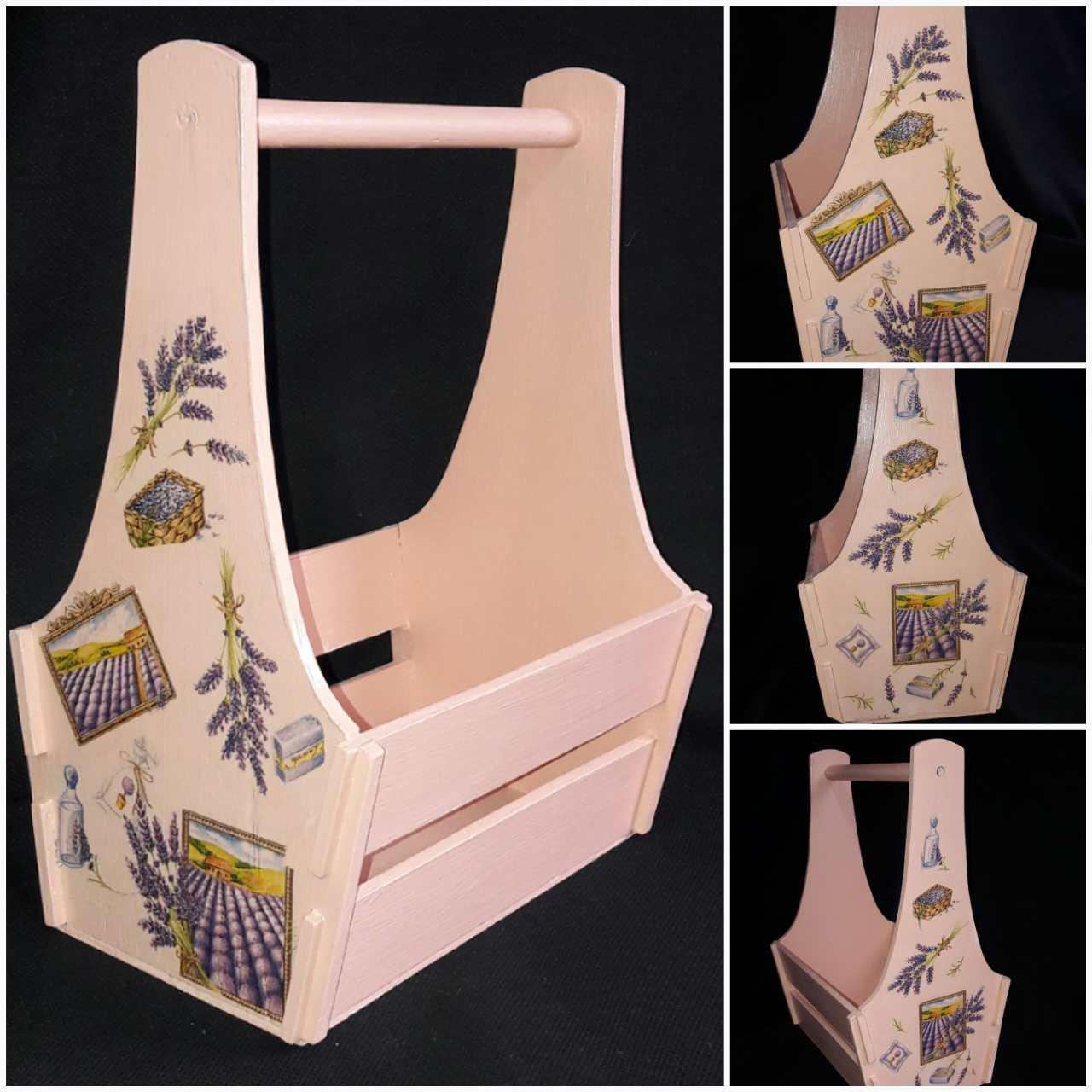 Окрашенный декупажный ящик в стиле Прованс, ручная работа, 25х17х36 см, 300/270 (цена за 1 шт. + 30 гр.)
