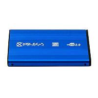 """Внешний карман для HDD SATA 2.5"""" USB 2.0 (алюминиевый) Kolega-Power (Синий) оптом от 20шт"""