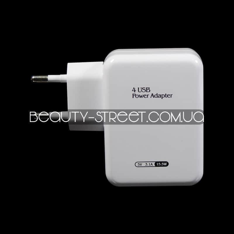 Универсальное зарядное устройство 5v 3.1a 15.5w 4xUSB (белый) оптом от 3шт