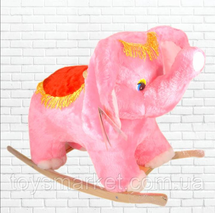 Детская качалка,слон,розовый